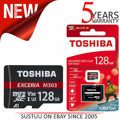 Toshiba Exceria M303 128GB U3 Class 10 MicroSDXC Memory Card with Adapter│98MB/s