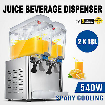 9.5 Gallon Cold Juice Beverage Dispenser Refrigerated Cooler Drinks Two Tank