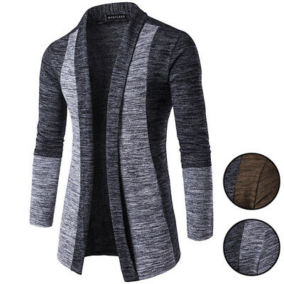 Mens Shawl Cardigan Open-Front Color Block Wool Jumper Blend Casual Long Sweater