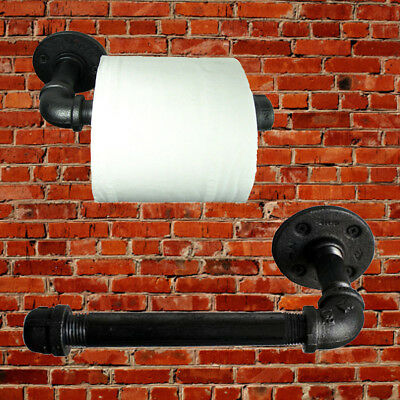 Industrial Urban Retro Wall Mount Iron Pipe Toilet Paper Roll Holder