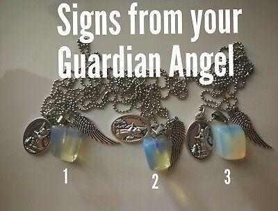 Code 489 Opalite Infused Guardian Angel Signs Necklace you pick which necklace
