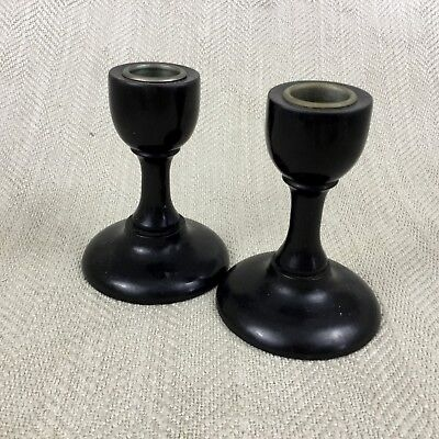 Antique Victorian Candlesticks Wooden EBONY Wood Turned Pair