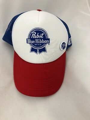 Retro PBR TRUCKER HAT Pabst Blue Ribbon Beer Cap Snapback Mesh Baseball pin