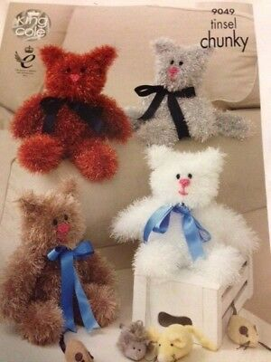 Knitting Pattern Cat Kitten  King Cole Tinsel 9049 toy childrens novelty