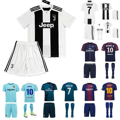 New UK 18/19 Football Jersey Soccer Kits Short Shirt 3-14Years Kid Boys+socks