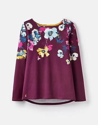 Joules 124821 Printed Jersey Top Shirt in PLUM