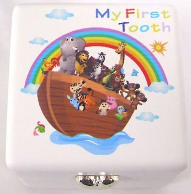 """Noah's Ark Baby's Christening Gift """"MY FIRST TOOTH"""" Storage Box"""