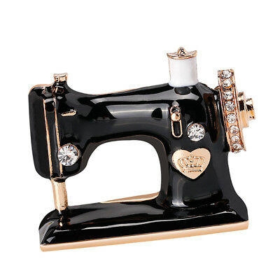 Chic Brooch Sewing Machine Shape Crystal Enamel Pin Collar Accessory Jewelry