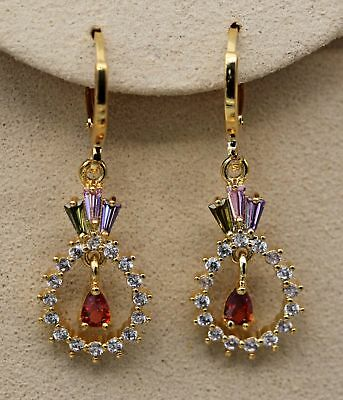 18K Yellow Gold Filled- 1.3'' Hollow Teardrop Crown Topaz Ruby Amethyst Earrings
