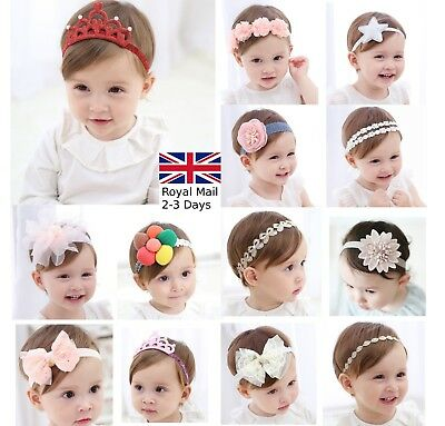 Baby Girls Bow Floral Crown Headband Alice Hair band Head Elastic Cute Kids