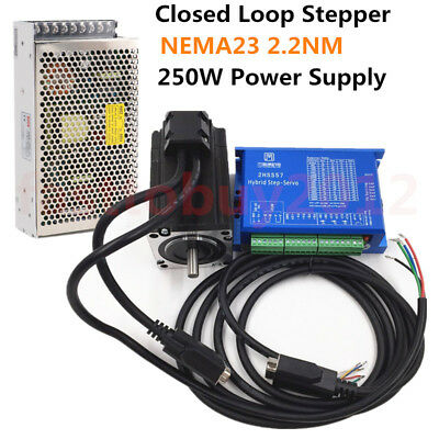 2.2NM Closed Loop Stepper Motor NEMA23 Hybird DSP Servo Drive 250W Power Supply