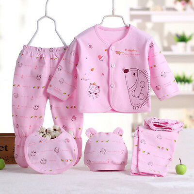 Newborn Boys Girls Baby Clothing Organic Cotton Soft Long Sleeve 0-3M 5PCS/Set