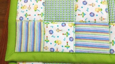 "NEW HANDMADE ""Blue & green squares""35x43in FLANNEL BABY/TODDLER  QUILTED BLANKET"