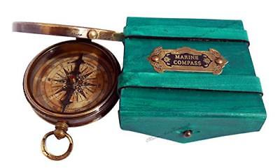 Robert Frost Poem'' Best Engraved Brass Compass with Leather Case Portable