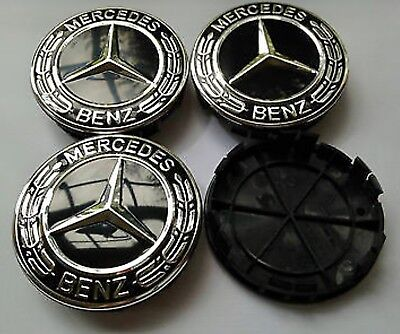4x Mercedes Benz Black 75mm Wheel Centre Caps, ALLOY WHEELS BLACK CHROME Fit All