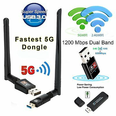 AC 1200Mbps Dual Band 2.4/5GHz Long Range Wireless USB 3.0 WiFi Adapter Antennas