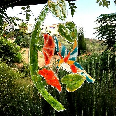 Stained Glass Window Panel  FUSEDStyle Hanging Suncatcher Birds Wall Art Decor