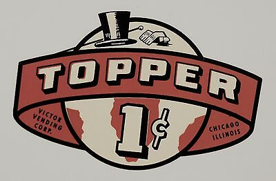 Topper Globe, One Cent. Red, Vending, Coinop, Water Slide Decal # Dv 1009
