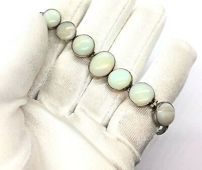 Antique Edwardian Sterling Silver 5 Stone Fiery Opal Graduating Link Bracelet