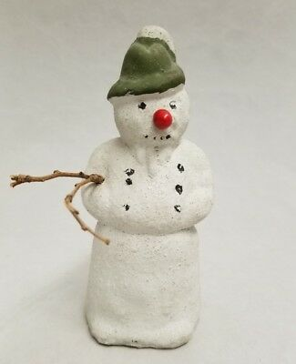 """Vintage 1920's Paper Mache Snowman with Branch  7"""" Tall Made in Germany"""