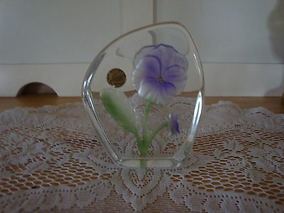 REDUCED 24% D'Arques France Crystal Pansy Paper Weight-Contemporary Glass-Desk