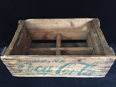 Vintage 1952 Green Lettering COCA-COLA Wooden Crate with 4 Sections