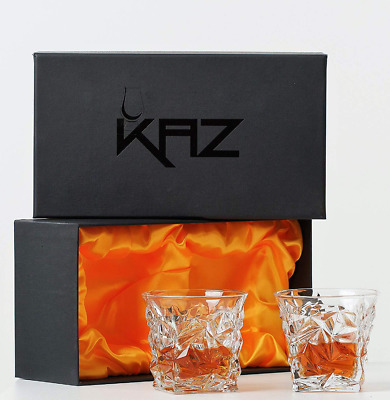 Kaz Whiskey Glasses 2 Premium Diamond Cut, Scotch Glass, Bourbon Tumbler E6