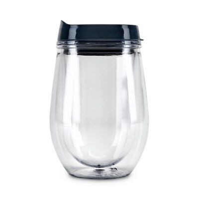 Travel Tumbler With Lid, Grey Insulated Plastic Double Wall Tumbler Travel