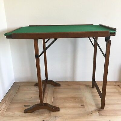 Vintage Folding Card Games Table With Green Baize Top W68cm x D46cm x H58cm