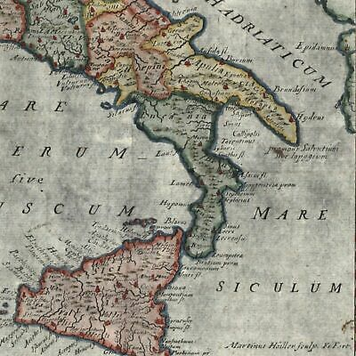 ancient Italy Italia Antiqua 1694 fine old hand color map Borri #126