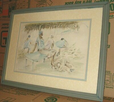 "Watercolor Painting signed Addy and Dated 98"" of Haitian Villa Scene Framed"