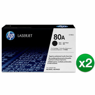 OEM ORIGINAL BRAND NEW HP 80A (CF280A) Black Genuine LaserJet Toner (2-Pack)