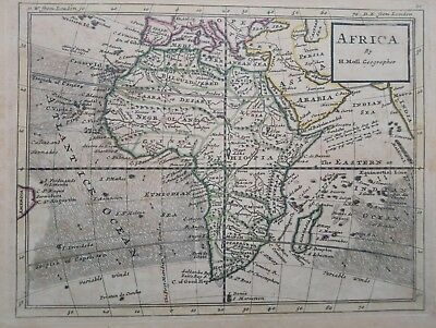 1732 Africa by Herman Moll Geographer Map Mapa Negroland Ethiopia Madagascar++++