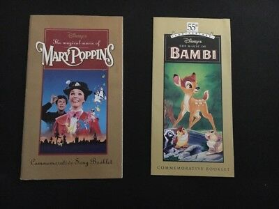 Disney Collectible Commemorative Booklets - Mary Poppins Song Booklet and Bambi