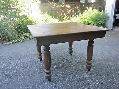 "Antique farmhouse table, square oak wood table, 42 "", Shabby Chic style"