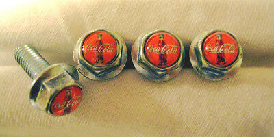 Coca-Cola Soda License Plates Screws, Coca Cola Logo Plate Screws, Coke Screws