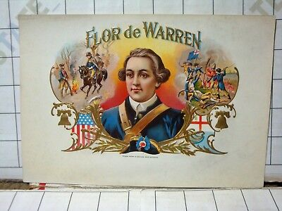 old FLOR de WARREN embossed CIGAR BOX LABEL soldiers battle golden liberty bells