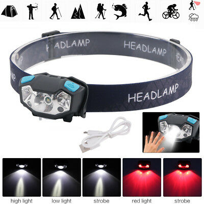 Motion Sensor 3*XPE Red White LED Headlamp Head Light Work Lamp USB Rechargeable