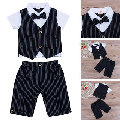 Gentleman Baby Boys Bow Tie Tops+Shorts Outfit 2PCS Wedding Birthday Formal Suit