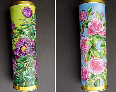 Pair Of Two Tube Flower Biscuit Tins