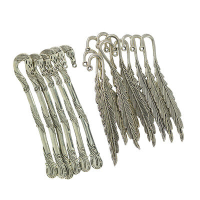 16pcs/Set Horse Feather Reading Metal Clip Bookmark Antique Tibetan Silver