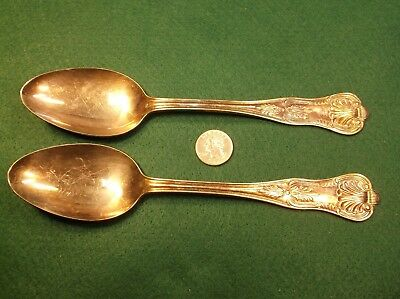 """Rare Pair Of Old Vtg Antique Silverplated Dinner Service Spoons """"Chicago Club"""""""