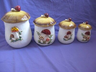 Vintage Sears Roebuck Merry Mushroom Canister Set Container Nice Condition!