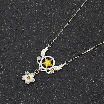 Anime Cardcaptor Sakura Star Wings Necklace Pendant Cosplay Women Jewelry