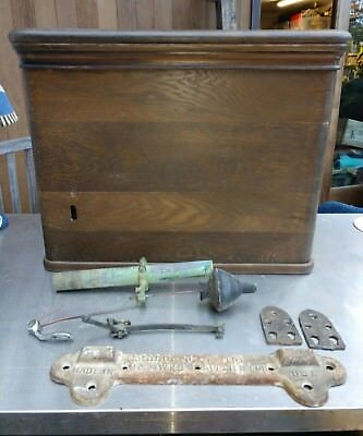 Antique Wood Toilet Tank Wall Mount Wooden Copper Lined Oak And Hardware Copper