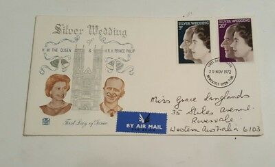 first day cover 1972 silver wedding queen and prince phillip