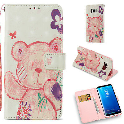 Colorful Cute Bear Wallet Leather Cover Case For Samsung Galaxy S8 Plus/+