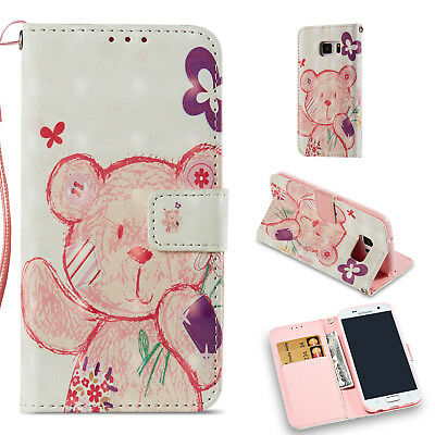 Colorful Cute Bear Wallet Leather Cover Case For Samsung Galaxy S7