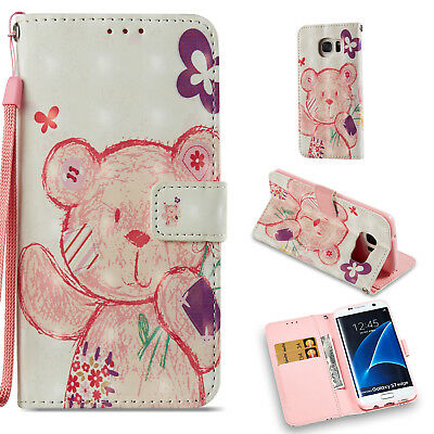 Colorful Cute Bear Wallet Leather Cover Case For Samsung Galaxy S7 Edge