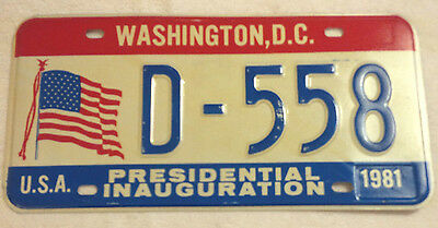 1981 District Of Columbia D-558 Inaugural License Plate